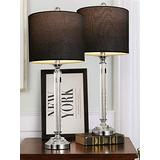 """OYEARS Crystal Table Lamp Set of 2 for Living Room Bedroom 27.75"""" Modern Buffet Table Lamps for Dining Room with Fabric Drum Shade Black"""