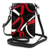 Black Red White Printed Small Cell Phone Purse Crossbody Cell,Women For Adjustable Shoulder Strap With Card Slots