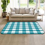 Large Area Rugs 2' x 3' Modern Throw Carpet Floor Cover Nursery Rugs for Children, Blue and White Green Buffalo Checker Indoor/Outdoor Rugs for Living Room/Bedroom
