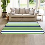 Large Area Rugs 3' x 5' Modern Throw Carpet Floor Cover Nursery Rugs for Children, Nautical Stripe Lines Blue Green and White Indoor/Outdoor Rugs for Living Room/Bedroom