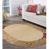 Tayse Sedona Beige 5x8 Oval Area Rug for Living, Bedroom, or Dining Room - Transitional, Floral