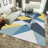 Xiakolaka Modern Abstract Geometric Triangles Blue Yellow Area Rug Soft Pastel Multi Color Squares Geometric Area Rugs Living Room 4'0''x5'3'' Non-Slip Modern Rugs