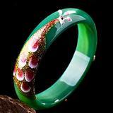 Kunze Natural Jade Bracelet, Healing Energy Hand Cutting Jade Stone Bangles with Carved Peacock Jade Bracelet for Women Luck Amulet Gifts