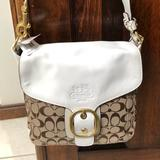 Coach Bags   Coach Khaki And White Shoulder Bag   Color: Tan   Size: 10 Inches Wide X 10 Inches High X 4 Inches Thick