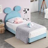 Bigler Twin Platform Bed by Viv + Rae™ Upholstered/Metal/Polyester/Polyester blend in Blue, Size 45.0 H x 39.0 W x 76.0 D in   Wayfair