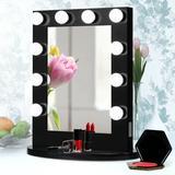 Latitude Run® Hollywood Makeup Vanity Mirror Tanding Vanity Makeup MirrorWood/Metal in Black/Brown/Green, Size 27.0 H x 23.0 W x 10.0 D in   Wayfair
