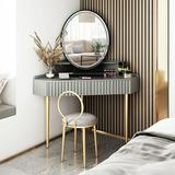 Everly Quinn Hollywood Vanity Lighted Makeup Mirror Remote Control 4 Color Dimming Wood in Black, Size 24.0 H x 18.0 W x 4.0 D in   Wayfair