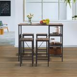 17 Stories 5 Piece Counter Height Dining Table Set, Industrial Style Bar Pub Table w/ 4 Backless Bar Stools For Home, Oak Finish Wood in Gray/Brown
