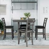 Red Barrel Studio® Wooden Counter Height Dining Set w/ Padded Chairs & Storage Shelving,1 Table+4 Chairs( Grey) Wood/Upholstered Chairs in Brown/Gray