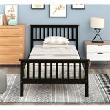 Red Barrel Studio® Twin Size Wood Platform Bed Wood in Black, Size 36.0 H x 43.0 W x 80.0 D in | Wayfair 2211782E86244003A5B4DC777CBA0F71