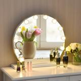 Latitude Run® 12 Bulbs Modes Touch Screen Dimming Hollywood Style Makeup Vanity Mirror in White, Size 19.0 H x 20.0 W x 5.0 D in   Wayfair