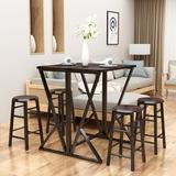 Ebern Designs 5 Pieces Dining Room Bar Table Set w/ 4 Stackable Round Barstools, w/ MDF Board & Structured w/ Heavy-Duty Metal Pipe (Counter H