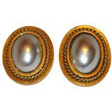Gilded Gold And Pearl Clip-on Earrings - Brown - Saint Laurent Earrings