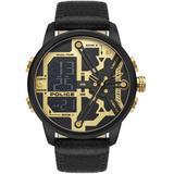 Analog-digital Black Genuine Leather Strap Watch 48mm - Black - Police Watches