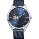 Automatic Blue Stainless Steel Mesh Strap Watch 43mm - Blue - Bering Watches