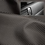 "EzAuto Wrap 54""x354"" (4.5FTx30FT) Gray Fabric Carbon Fiber 54"" Wide Cloth Marine Vinyl Plain Weave Upholstery Automotive Seat Cover"