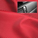 "EzAuto Wrap 24""x54"" (2FTx4.5FT) Red Fabric Carbon Fiber 54"" Wide Cloth Marine Vinyl Plain Weave Upholstery Automotive Seat Cover"