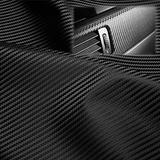 """EzAuto Wrap 54""""x84"""" (4.5FTx7FT) Black Fabric Carbon Fiber 54"""" Wide Cloth Marine Vinyl Plain Weave Upholstery Automotive Seat Cover"""
