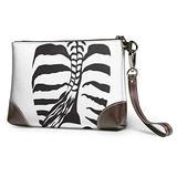 Zebra Back Sketch Black And White Women Clutch Purse With Wristlet Strap Wallet Zip Small Purses Handbags