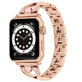 FRUITCAT Women Metal Rhinestone Adjustable Watch Bands Compatible with Apple Watch Series SE/1/2/3/4/5/6 (38mm 40mm) with Heart-shaped Crystal Diamond Watch Straps Stainless Steel Bracelet Watch Band
