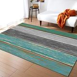 KITHOME Contemporary Non-Slip Area Rug Rustic Farm Wood Teal Green Grey Brown Printed Rugs Art Carnival Rubber Backing Living Room Floor Mats Rectangle Area Rug Carpet for Indoor 5'x7'