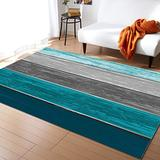 KITHOME Contemporary Non-Slip Area Rug Rustic Barn Wood Blue Green Brown Printed Rugs Art Carnival Rubber Backing Living Room Floor Mats Rectangle Area Rug Carpet for Indoor 5'x7'