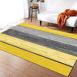 KITHOME Contemporary Non-Slip Area Rug Rustic Barn Wood Yellow Brown Printed Rugs Art Carnival Rubber Backing Living Room Floor Mats Rectangle Area Rug Carpet for Indoor 2'x3'