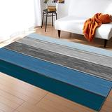 KITHOME Contemporary Non-Slip Area Rug Rustic Farm Wood Blue Grey Brown Printed Rugs Art Carnival Rubber Backing Living Room Floor Mats Rectangle Area Rug Carpet for Indoor 2.7'x5'