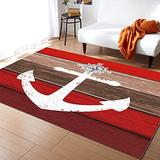 KITHOME Contemporary Non-Slip Area Rug White Anchor Compass Farm Barn Red Brown Wood Plank Printed Rugs Art Carnival Rubber Backing Living Room Floor Mats Rectangle Area Rug Carpet for Indoor 5'x7'