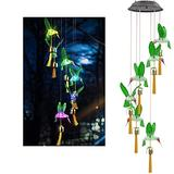 HDHUIXS Solar Hummingbird Wind Chimes, Color Changing Solar Wind Chime Outdoor Waterproof Solar Lights, Gifts for Mom Grandma Birthday Night Party (2 Pack)
