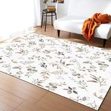 Contemporary Non-Slip Area Rug Vintage Farmhouse Flower Leaves Brown Watercolor Style Printed Rugs Art Carnival Rubber Backing Living Room Floor Mats Rectangle Area Rug Carpet for Indoor 5'x7'