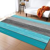KITHOME Contemporary Non-Slip Area Rug Rustic Barn Wood Teal Green Brown Printed Rugs Art Carnival Rubber Backing Living Room Floor Mats Rectangle Area Rug Carpet for Indoor 4'x6'