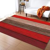 KITHOME Contemporary Non-Slip Area Rug Rustic Barn Wood Red Brown Printed Rugs Art Carnival Rubber Backing Living Room Floor Mats Rectangle Area Rug Carpet for Indoor 5'x7'