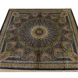 Yilong 8x8ft Square Silk Persian Rug Handwoven Tabriz Rugs Pure Hand Knotted Silk Area Rugs for Home Office