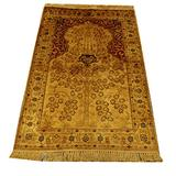 Yilong Carpet 2.5x4ft Handmade Silk Persian Carpet Hand Knotted Chinese Rug Small Oriental Rug Traditional Style Area Rugs Carpet Silk Carpet Rugs for Bedroom Kids Room House Villa (Floral Golden)