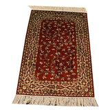 Yilong Hand Knotted Antique Rug Persian Silk Carpet Red Tapestry Small Pure Tree of Life Handmade Oriental Area Rug Hand Knotted Rugs for Bedroom Indoor Entrance Doormat, 2ft x 3ft