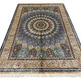 Yuchen Rug 6x9 Blue Hand Knotted Vintage Silk Persian Qum Rug for Living Room