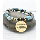 Pink Box Women's Bracelets Gold - Blue Agate & 14k Gold-Plated 'Grandmother' Stretch Bracelet