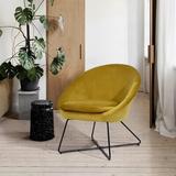 Mercer41 Accent Chair, Velvet Dining Chair Set, Living Room Bedroom Kitchen Arm Chair, GreenVelvet in Yellow, Size 29.53 H x 28.74 W x 26.77 D in