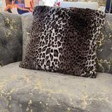 Everly Quinn Leopard Cheetah Jaguar Feline Animal Print Soft Cozy Fuzzy Faux Fur Throw Pillow/Positioner Polyester/Polyfill/Faux Fur in Green