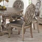 Rosdorf Park Northville Side Chair (Set-2) In PU & Antique Silver Faux Leather/Upholstered in Gray, Size 42.0 H x 17.0 W x 19.0 D in | Wayfair