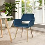 Mercer41 Accent Chair, Velvet Dining Chair Set, Living Room Bedroom Kitchen Arm Chair,navy BlueVelvet in Black, Size 29.53 H x 28.74 W x 26.77 D in
