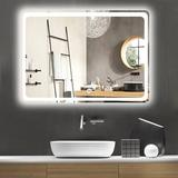 """Ivy Bronx 32"""" X 24"""" Bathroom Mirror, Backlit Mirror w/ Led Lights Lighted Makeup Vanity Wall-Mounted Horizontally, Size 32.0 H x 24.0 W x 0.19 D in"""