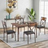 17 Stories Retro 5-Piece Dining Table Wooden w/ Matching Chairs In Brown For Dining Room/Living Room Wood/Upholstered Chairs | Wayfair in Brown/Green