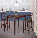 Red Barrel Studio® Wood Contemporary Home Perrone 3-Pc Dining Set, High Drop Leaf Table & 2 Ladderback Stools in Brown, Size 29.1 H in   Wayfair