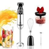 QYA 5-In-1 Immersion Hand Blender,Stainless Steel Stick Blender with Milk Frother, 400W,Egg Whisk, 2-Blades 500ml Chopper and 700ml Beaker with Lid, Detachable (5-piece set)