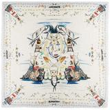 Silk Square Marine Sketch Scarf - White - Burberry Scarves