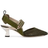 Micromesh Slingbacks With A Medium Heel - Green - Fendi Heels