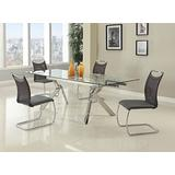 MILAN Elora 5 Piece Dining Set with Butterfly Legs and Neela Side Chairs, Silver