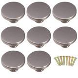 8 Pack Europe Style Stainless Steel Silver Cabinet Door Handle,Single Hole knob Kitchen Cabinet Door Knob Handle,Drawer Pulls Wardrobe Cupboard Handle Hardware